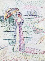"Matisse's ""Jeune Femme à l'Ombrelle"". I believe the style is known as 'pointilism'."