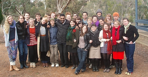 Kumi Naidoo is pictured with members of the australian youth climate coalition.