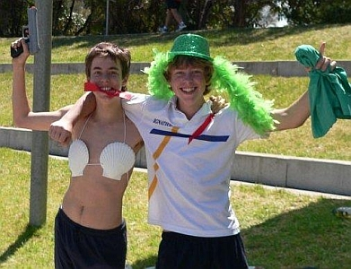 My best friend and I at a school sports carnival. We look happy together. I am topless and wearing a tortoise shell bra. It's a bit weird. The point is that our love, our relationship cannot be neatly described!