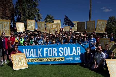 A picture of the walk for solar, part of the repower port augusta campaign. The picture illustrates a group doing an activity aimed at pioneers, in accordance with the motivational values stuff discussed in Chris Rose's 'How To Win Campaigns'