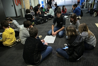 young people in workshops learning from each other. They are organising, like in Saul Alinsky's rules for radicals!