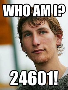 "a picture of Jonathan moylan of the anz hoax with ""who am I?"" ""24601"" on it"