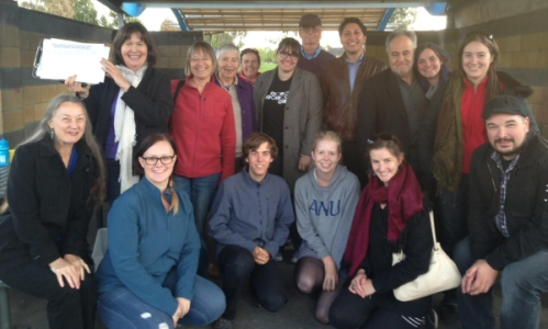 a group of people who have been doorknocking with simon sheikh for the senate act greens campaign
