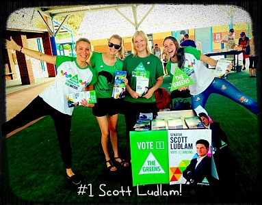 very happy looking greens supporters