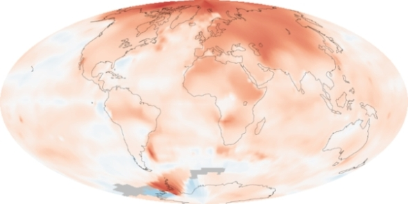 """GISS temperature 2000-09 lrg"" by NASA images by Robert Simmon, based on data from the Goddard Institute for Space Studies. - NASA Earth Observatory Image of the Day: 2009 Ends Warmest Decade on Record http://earthobservatory.nasa.gov/IOTD/view.php?id=42392. Licensed under Public domain via Wikimedia Commons - http://commons.wikimedia.org/wiki/File:GISS_temperature_2000-09_lrg.png#mediaviewer/File:GISS_temperature_2000-09_lrg.png"