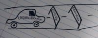 """a cartoon of a car being blocked by hurdles reading """"advising"""" and """"reassuring"""""""