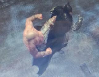 Batman confronting a pugilist